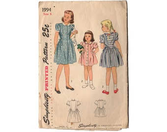 Vintage 1940s Girls Dress Pattern, Puffy Sleeve Dress, Peter Pan Collar, Button Up Dress, Dress with Bow, Simplicity Sewing Pattern 1994
