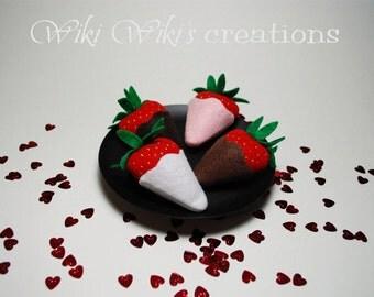 Felt Plush Plain Chocolate Strawberries