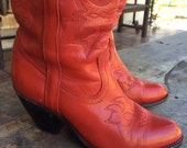Vintage Womens Cowboy Western Boots RED leather Rockabilly Miss Capezio