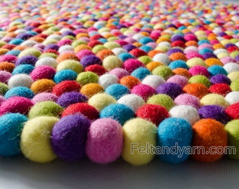 Felt ball rug multicolored round, Pink shade, felt ball rugs, nursery rugs, kid room felt ball rug, freckle rug