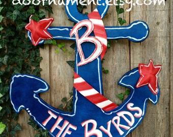 Personalized Screen Red White and Blue Anchor with Seashells Door Hanger, Summer Door Hanger, Lake House Door Hanger, Beach House Wreath