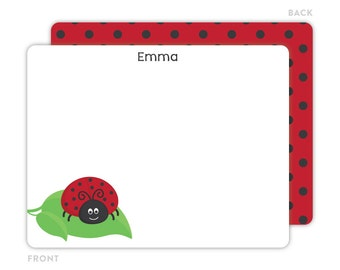 Ladybug Note Cards - Personalized Note Cards for Kids - Kids Stationery - Ladybug Notecards - Kids Thank You Cards - Ladybug Stationery