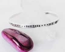 Dreamer thin sterling silver cuff bracelet, pattern cuff bracelet, star and moon, triangle bracelet inspirational quote, RTS CS002