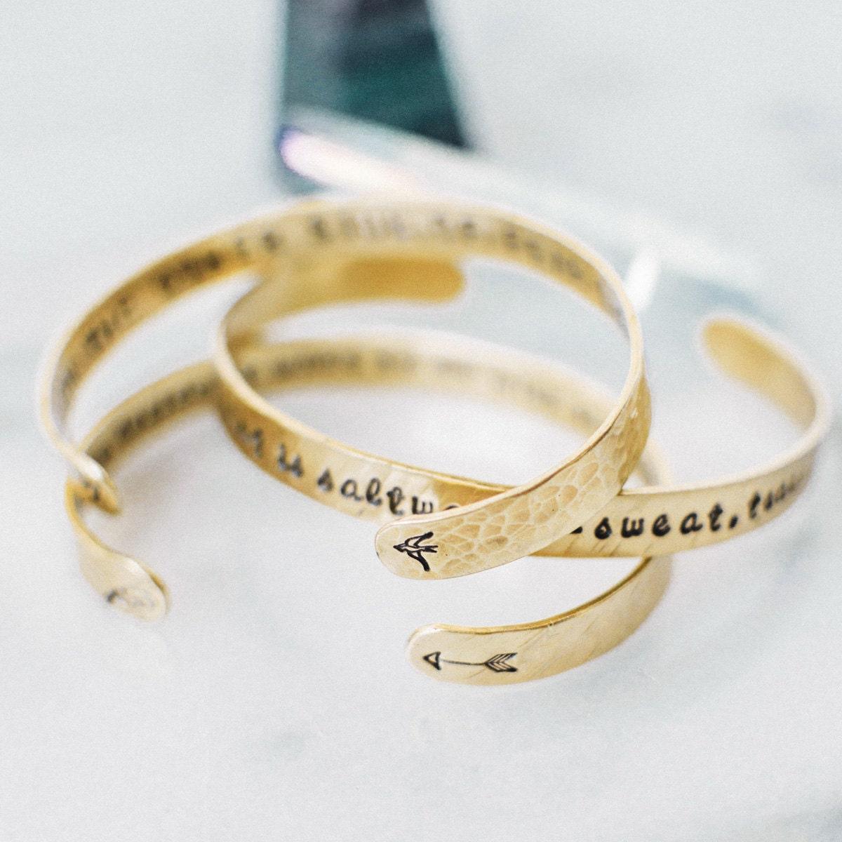 personalized gold quote bracelet custom quote bracelet