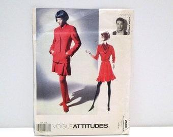 Gordon Henderson Pleated Skirt Tip Jacket Vogue 2566 Vintage 1990s Designer Sewing Pattern Never Used Plus Size 18 20 22 V Neck Shirt Preppy