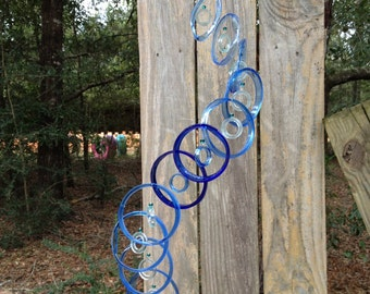 summer outdoor, lt blue blue, Glass windchimes from RECYCLED Wine bottles,  garden decor, mobiles, windchimes, glass wind chimes, glass
