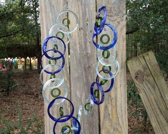 Glass Wind Chimes   RECYCLED bottles, eco friendly ,mix bottle colors, wind chime, garden decor, wind chimes, musical, home decor, mobile