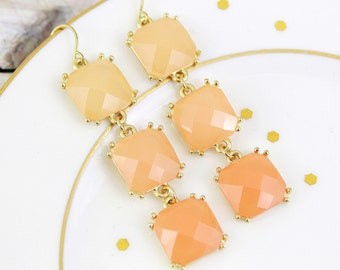Peach Stone Gold Setting Dangle Earrings , Bridal Earrings, Bridesmaid Earrings, Peach Dangle Earrings, Bridal Shower Gift
