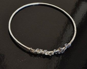 UK Hallmarked Sterling Silver Stacking Bangle with Embellishment
