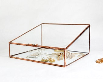 Glass Box, Large Glass Display Box, Glass Jewelry Box, Wedding Display Box, Gift For Girlfriend, Gift for Mom, Clear Glass Jewelry Box
