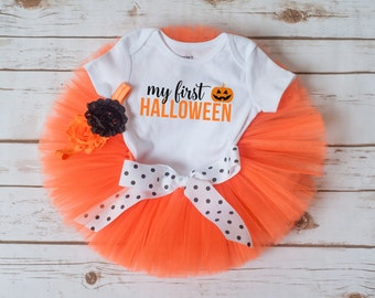 "First Halloween outfit ""Kathy"" baby girl first Halloween costume first Halloween girl pumpkin tutu orange tutu first halloween tutu set"