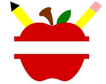 SVG - Split Apple with Pencils - DXF - Back to School - Back to School Tshirt - Back to school Monogram - Apple Monogram - Teacher - School