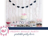 Preppy Whale Printable Digital Party Collection - Mirabelle Creations