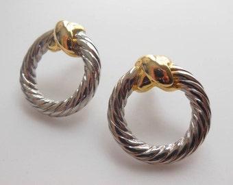 Retro Vintage 80s Silver & Gold Metal Modernist Hoop Rope Design Earrings