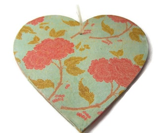 Decoupage Wooden Hanging Heart - Shabby Chic Orange Bloom Decorative Hanging Heart