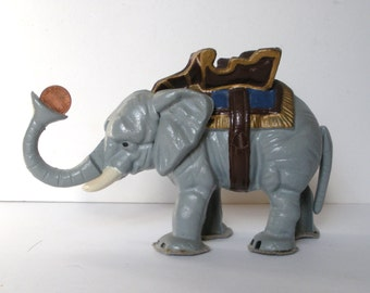 Vintage Elephant With Howdah Cast Iron Mechanical Bank Reproduction