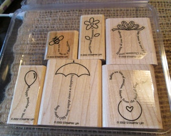 THE FINE PRINT Wood - Stamp Set- Stampin Up Retired