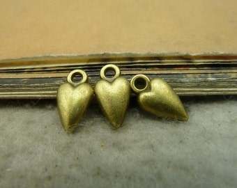 50pcs 7*13mm antique bronze love heart charms pendant C5035