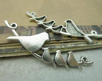 5pcs 22*66mm antique silver bird charms pendant C6160