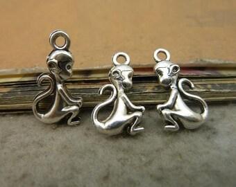 50pcs 11*20mm antique silver  monkey animal charms pendant C5346