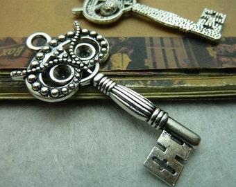 10pcs 30*60mm antique silver  owl key charms pendant C5710