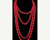 2 Red Bead Necklaces Layered Boho & Link Style Thermoset Plastic 1950s Vintage