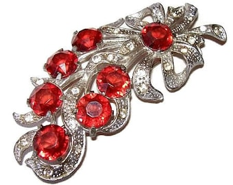 "Art Nouveau Deco Brooch Cherry Red Rhinestones Cast Silver Metal OLD Floral Design 3 1/2"" Vintage"