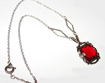 "Art Deco Red Pendant Necklace Silver Metal Chain Sterling? Holidays 15"" Vintage"