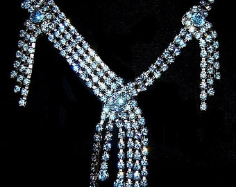 Blue Rhinestone Necklace Earring Set Waterfall Cascade Silver Metal High End Vintage