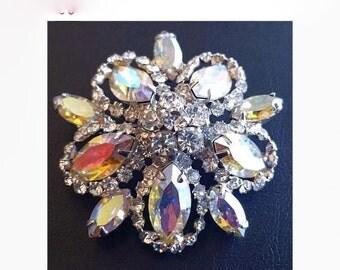 "Weiss Rhinestone Brooch Aurora Borealis Domed Layered Holiday Pin Silver Metal 1 3/4"" Vintage"