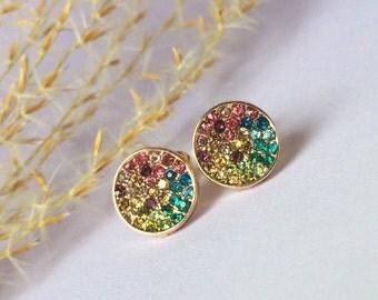 Multicolor Rainbow Pave Circle Studs Rhinestone Stud Earrings Surgical Steel Posts