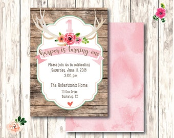 Floral Antler First Birthday Invitation - Digital download