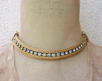 Lovely 1950's Necklace-Golden Mesh with Aqua Rhinestones