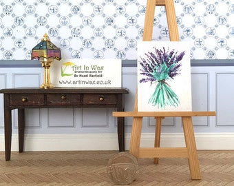 hand tied lavender flowers bouquet painting Miniature  DollHouse Picture Original Art In Wax