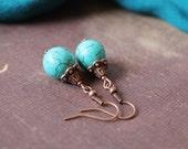 Turquoise Earrings Turquoise Dangle Earrings Turquoise Copper Earrings Turquoise jewelry Ethnic Oriental