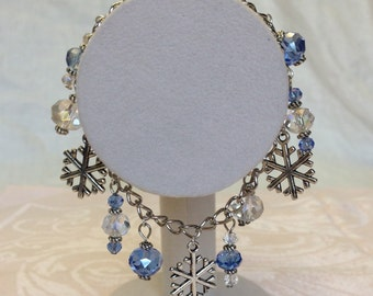 Blue and White Austrian Crystal Snowflake Charm Bracelet