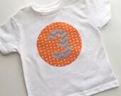 Third Birthday Shirt 3 arrows tribal orange Modern gift photo prop aqua, navy,