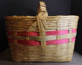 Vintage Large Woven Basket // Pink Stripes // Big Blanket Basket