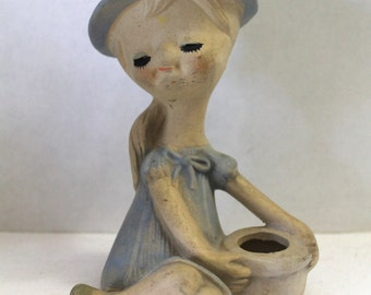 Vintage UCTCI Girl Figurine in Blue Dress 5.5 Inches Tall Collectible Bisque