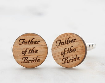Father of the Bride Cufflinks or Father of the Groom Cufflinks - Personalized Gift for Dad - Bargain Price for 2 Pairs