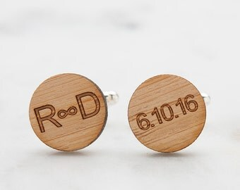 Wood Cufflinks - Infinity Symbol Cufflinks - Monogrammed Wood Cufflinks - Wedding Cufflinks for Groom - Fifth Anniversary Gift for Men