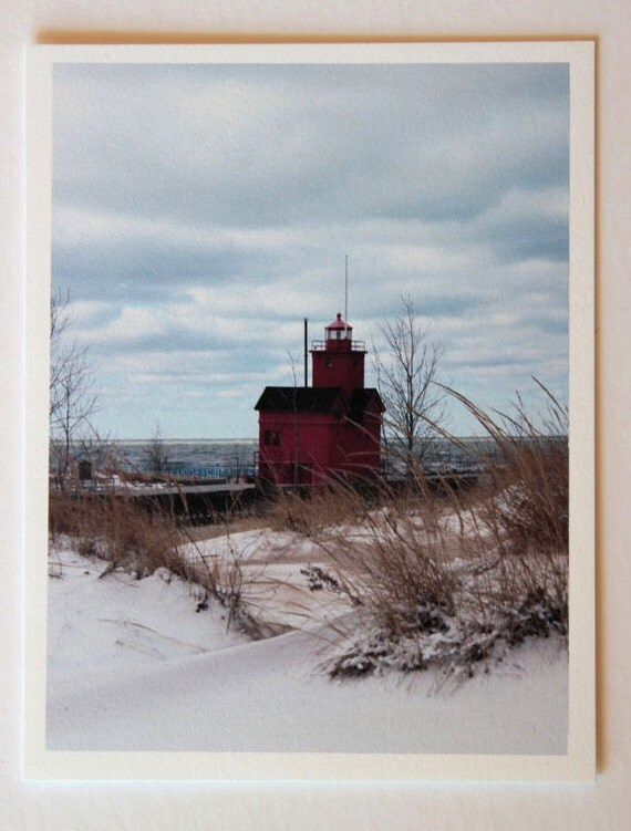 Michigan lighthouse, note card, blank greeting card, Big Red lighthouse, Holland MI,  fine art, single card, photo greeting cards,