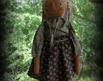 Primitive Pumpkin Halloween Girl Doll ~ Handmade Folk Art Pumpkin Doll