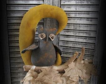 Primitive Halloween Owl~In~The~Moon Door Greeter~Folk Art Halloween Decor