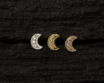 Diamond Crescent moon push in 16gauge bio flexible tragus / helix / cartilage/ medusa piercing
