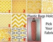Plastic Bag Holder, Grocery bag holder, plastic bag dispenser, bags organizer- PICK YOUR FABRIC- Yellow Patterns