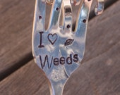 I (heart) WEEDS garden marker stake ~ herb plants flower VINTAGE FORK hand stamped fun gift Christmas