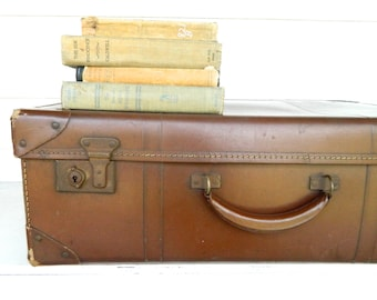 Vintage Suitcase Luggage Brown Large Photo Prop