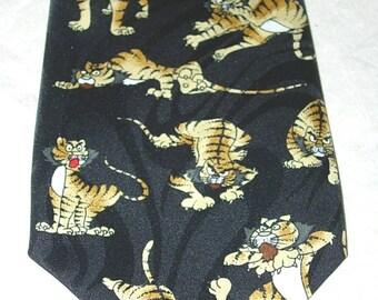 Dimoda Necktie Tigers Pattern Polyester Neck Tie Black