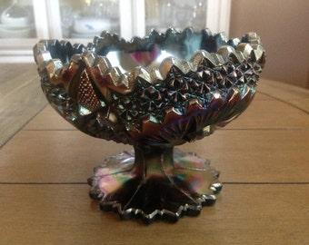 "Fenton Art Glass Compote / Dish 5x6"" Pinwheel Hobstar Amethyst Carnival Purple"